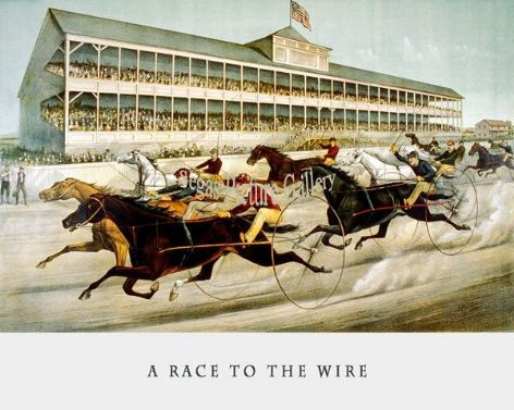 Fine art Horseracing Print of the 1800's Racing and Trotting of A Race to the Wire